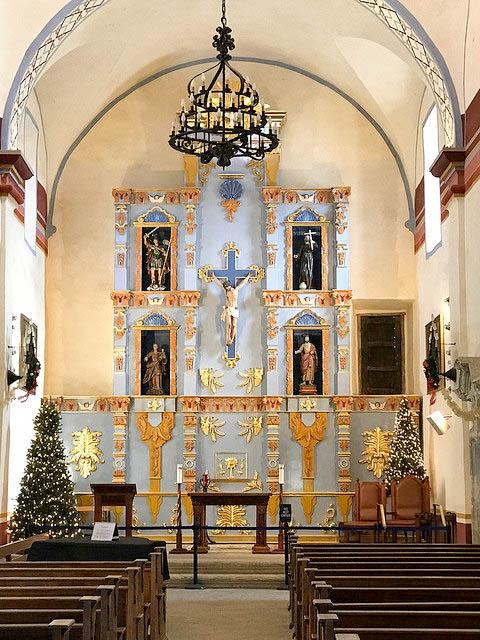 Interior of the church at Mission San Jose.