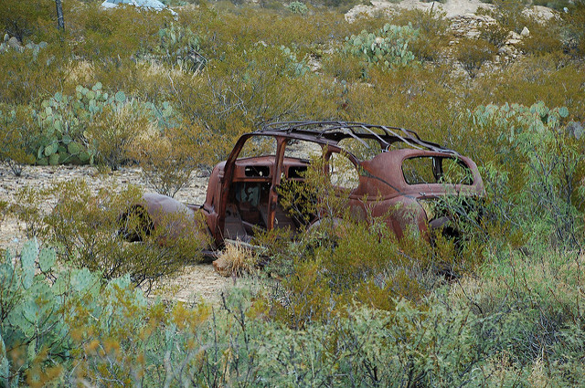 A long-abandoned car in Terlingua. You'll find similar images of this car all over the internet!