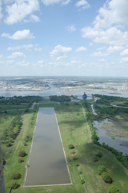 At the upper right side of the reflecting pool you'll find the USS Texas.