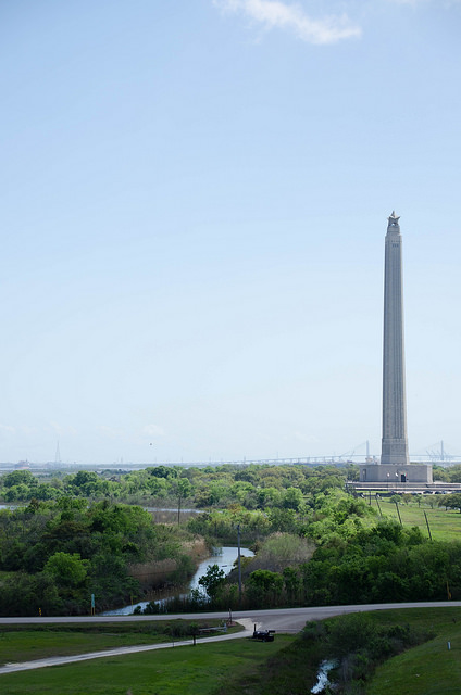 The San Jacinto Monument seen from the deck of the USS Texas.
