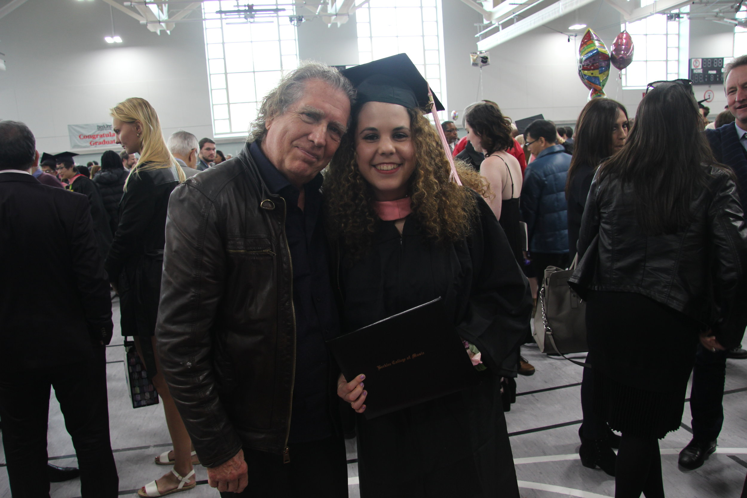 Julia on graduation day with one of her favorite songwriting mentors and teacher, Pat Pattison.