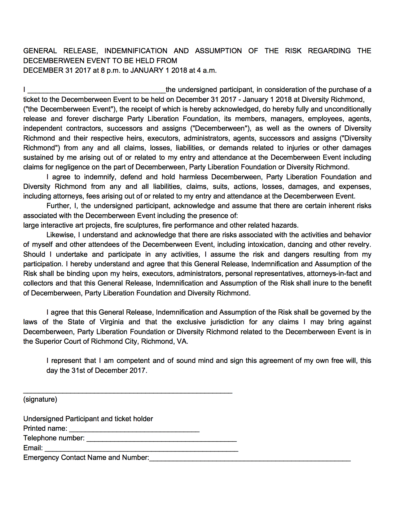 Dween 12 Waiver