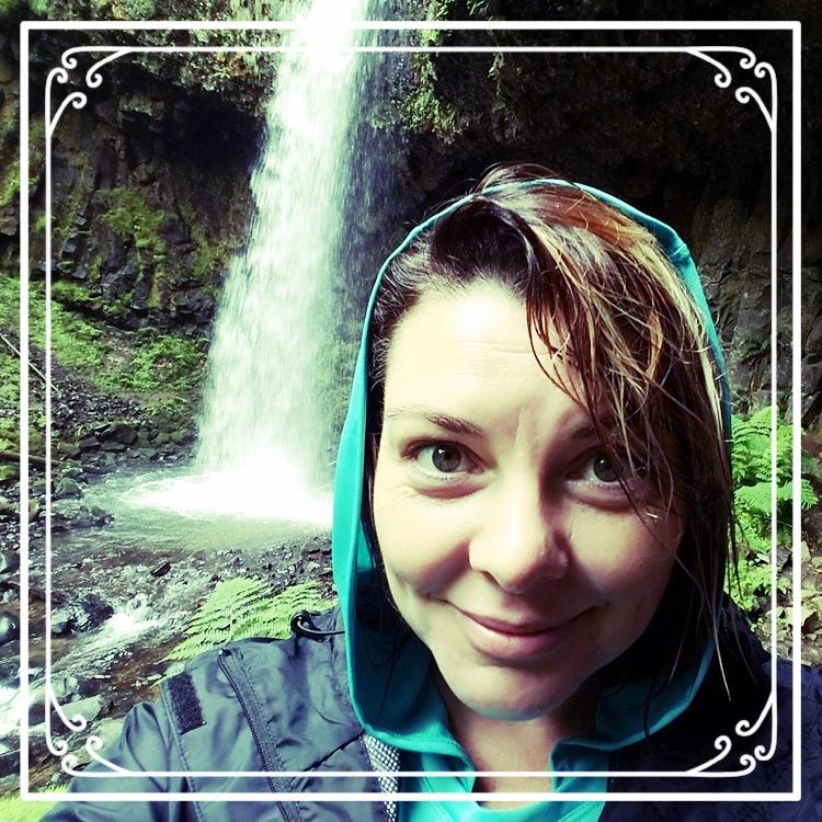 Playing in the water. Latourell Falls, Oregon