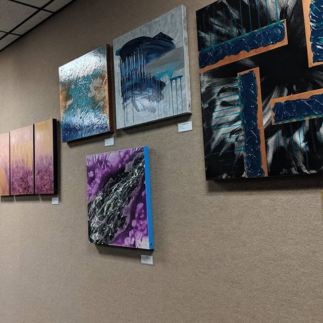 """Through the end of July, pieces from my collection, """"Flying High At The End Of My Rope,"""" will be on display in the Local Artist Gallery at the Lake Wales Public Library.  I hope you have a chance to stop by and see my work in person.  #localartistgallery #lakewales #lakewalespubliclibrary #publiclibrary #exposure #ondisplay #aliceabsolutely #flyinghigh #endofmyrope #abstractexpressionism #abstractemotionalism #stopby #seeyousoon #inperson #facetoface #irl #inreallife #goodnews #inspired"""