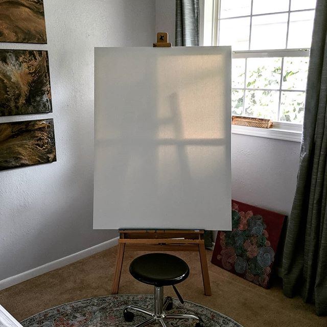#freshstart in my #studio I love a #newcanvas especially a #bigcanvas because there is so much room to #grow  Hopefully this work is going to be an inspired #chanelmiller #emilydoe #knowmyname #kintsugi piece.  Let's see where it goes... #aliceabsolutely #abstractemotionalism #imnotafeminist #ijustwantpockets #newwork