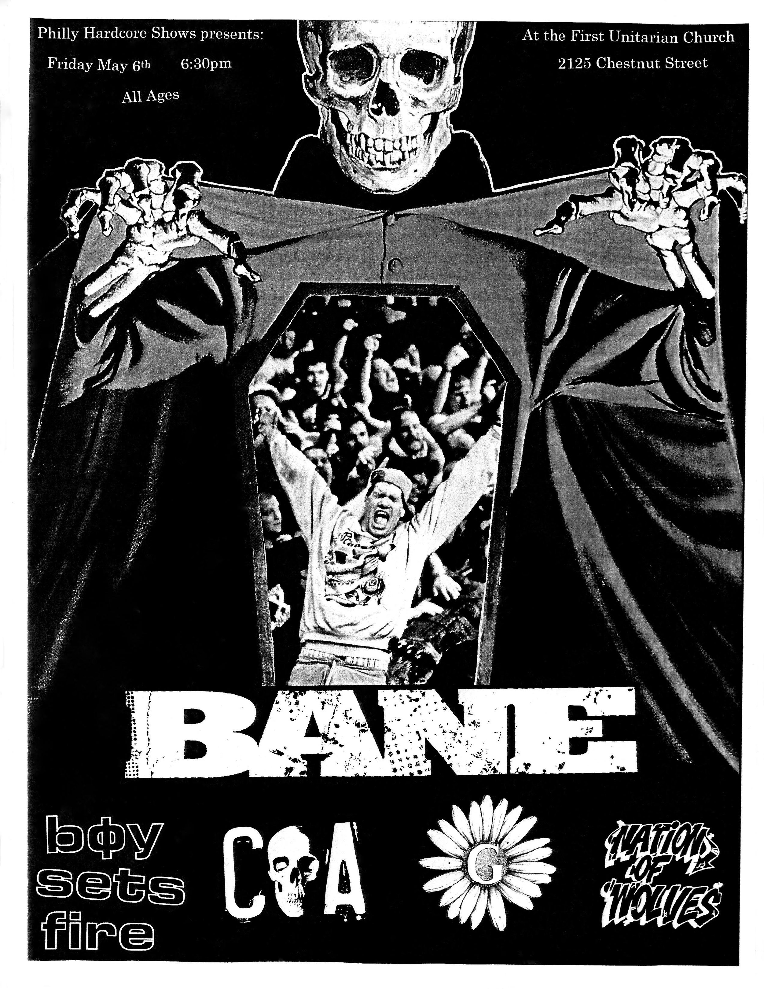 1) Bane - It's funny how the ones you put the least amount of effort into become the ones that people claim to be your best work. I lifted the graphic of the skeleton from a 1950's horror film poster, and cut out the image inside the coffin so i could lay it over a photo that Angela Owens took of Bane from This Is Hardcore a few years back. All in all, I think it turned out alright and I was hyped to work with Angela because she is the best.