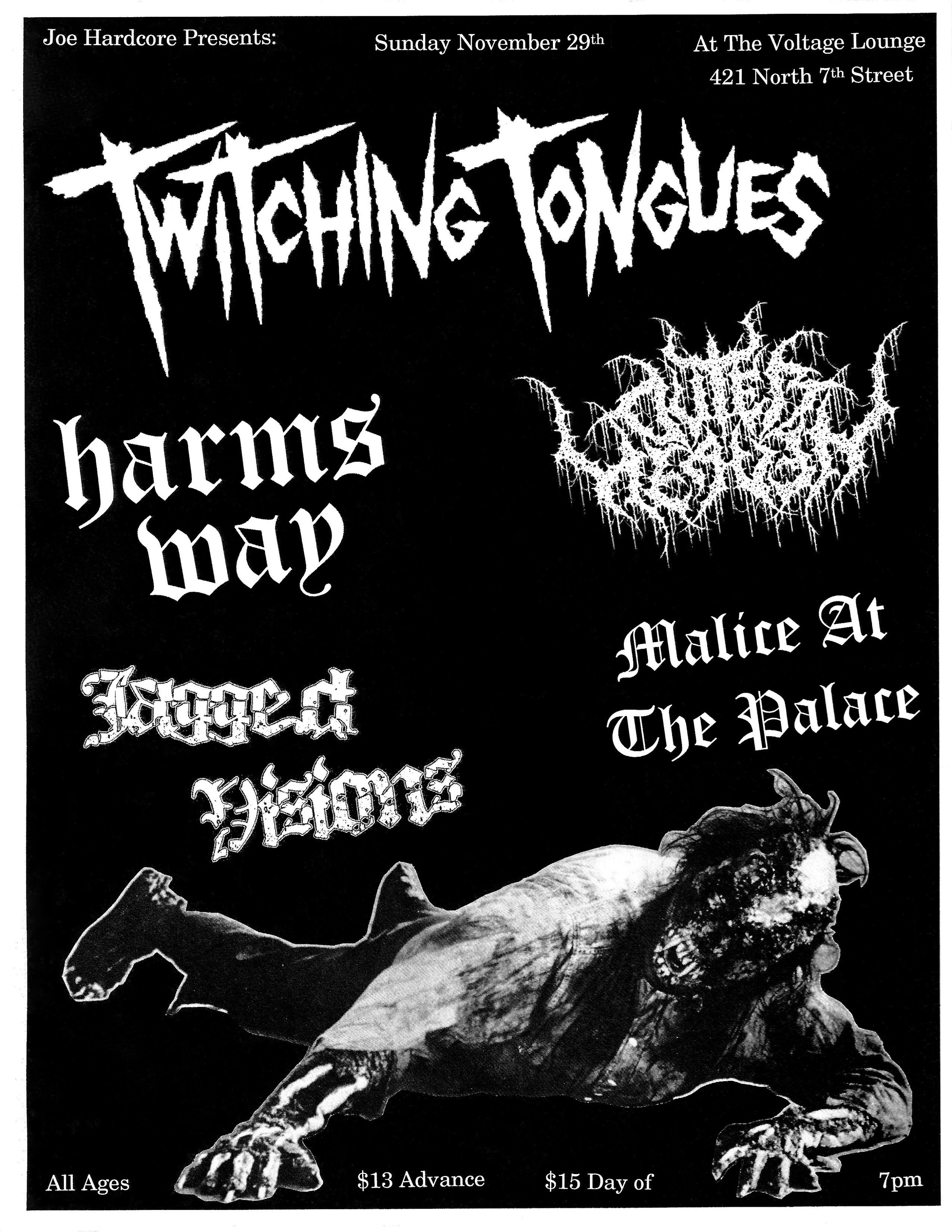5) Twitching Tongues - The image for this one came from that same disintegrating horror film book that I mentioned earlier. I went all out and made big poster sized copies for this gig, and while I was waiting to pay I overheard a mother in line behind me tell her son that she thought the image was disgusting, so I knew I was doing something right. I also recall someone I strongly dislike catching a beating at this gig for doing some grimy shit (and although I don't normally condone violence, I can't say that I was too mad at that).
