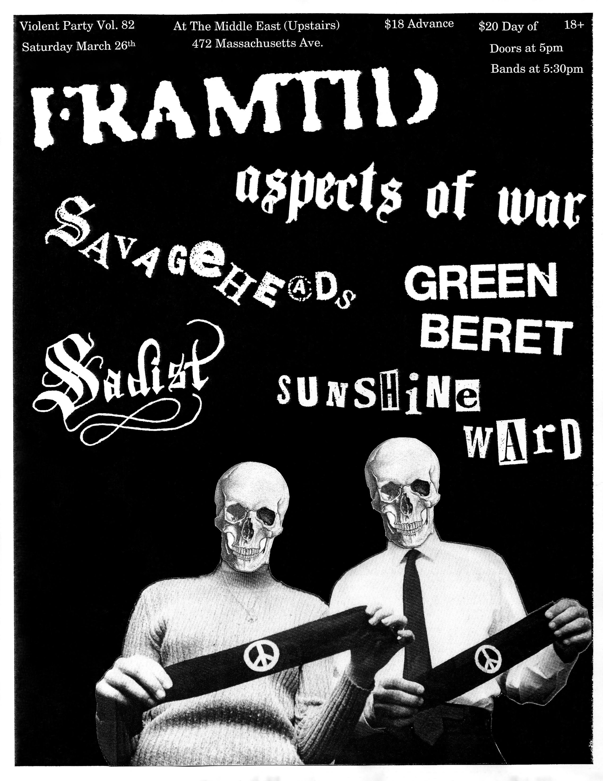 8) Framtid - I made this one while I was working a particularly slow shift on new year's eve. The image is of anti-war activists John & Mary Beth Tinker, and I took a nod from the Gism school of graphic design and cut the skulls to fit over their faces. Always a good look, as far as I am concerned. Sadly, Framtid was denied entry to the states, so this flyer was pretty much unseen by anyone that doesn't follow me on Instagram.