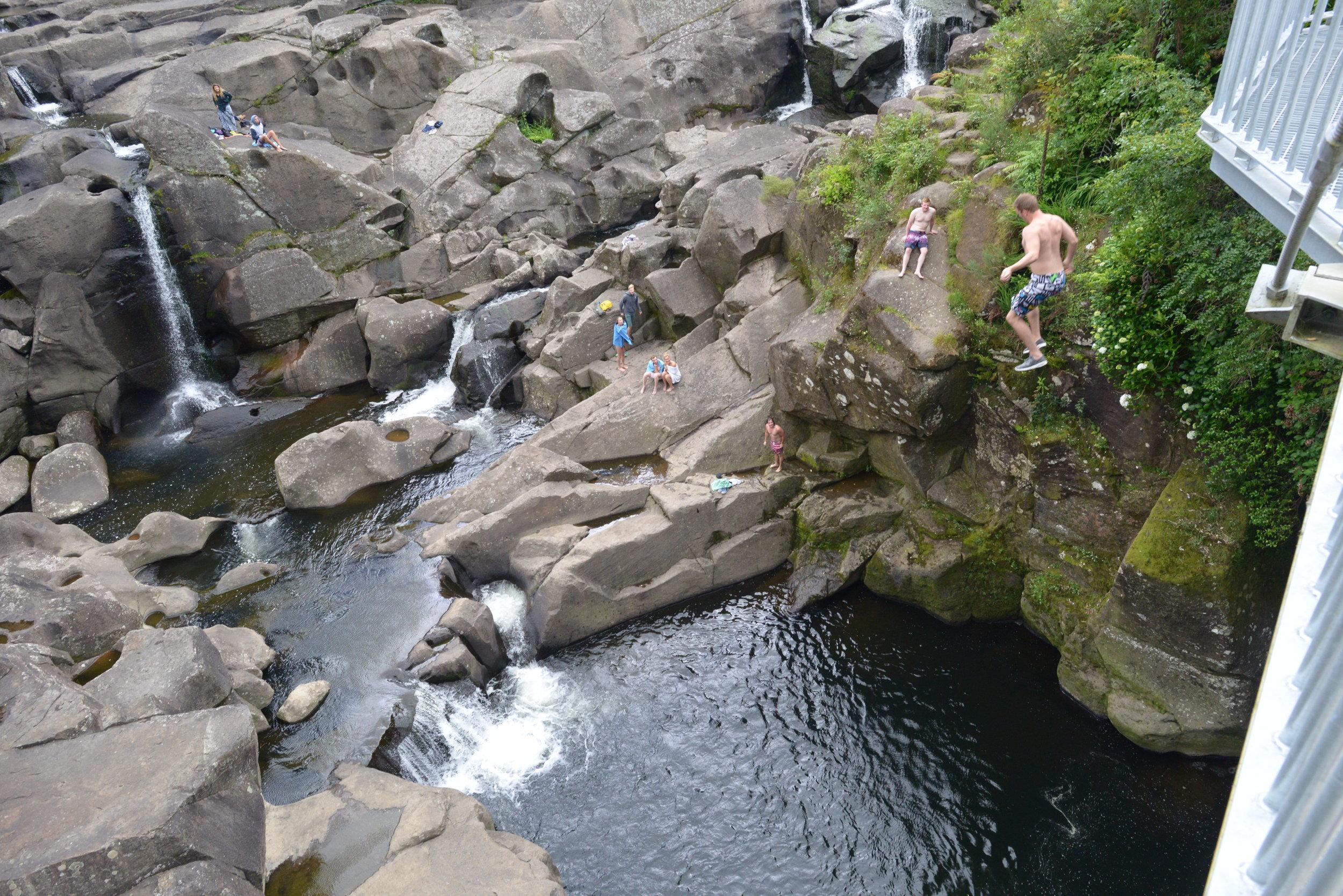 Woohoo! Teens jumping off the bridge (actually not allowed) into Maclaren Falls.