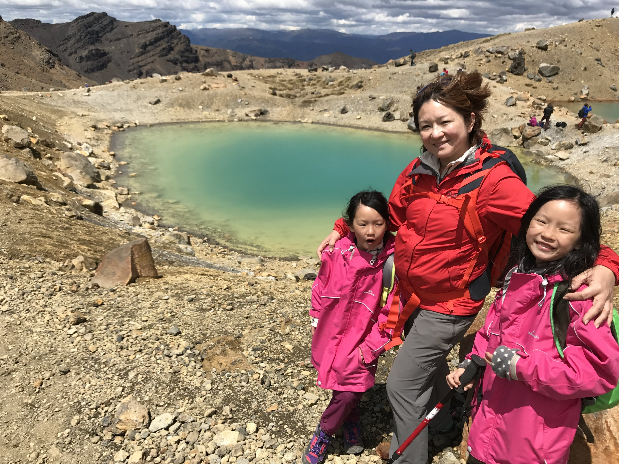 The gals at Emerald Lakes - a welcome sight and respite after the descent from Red Crater.