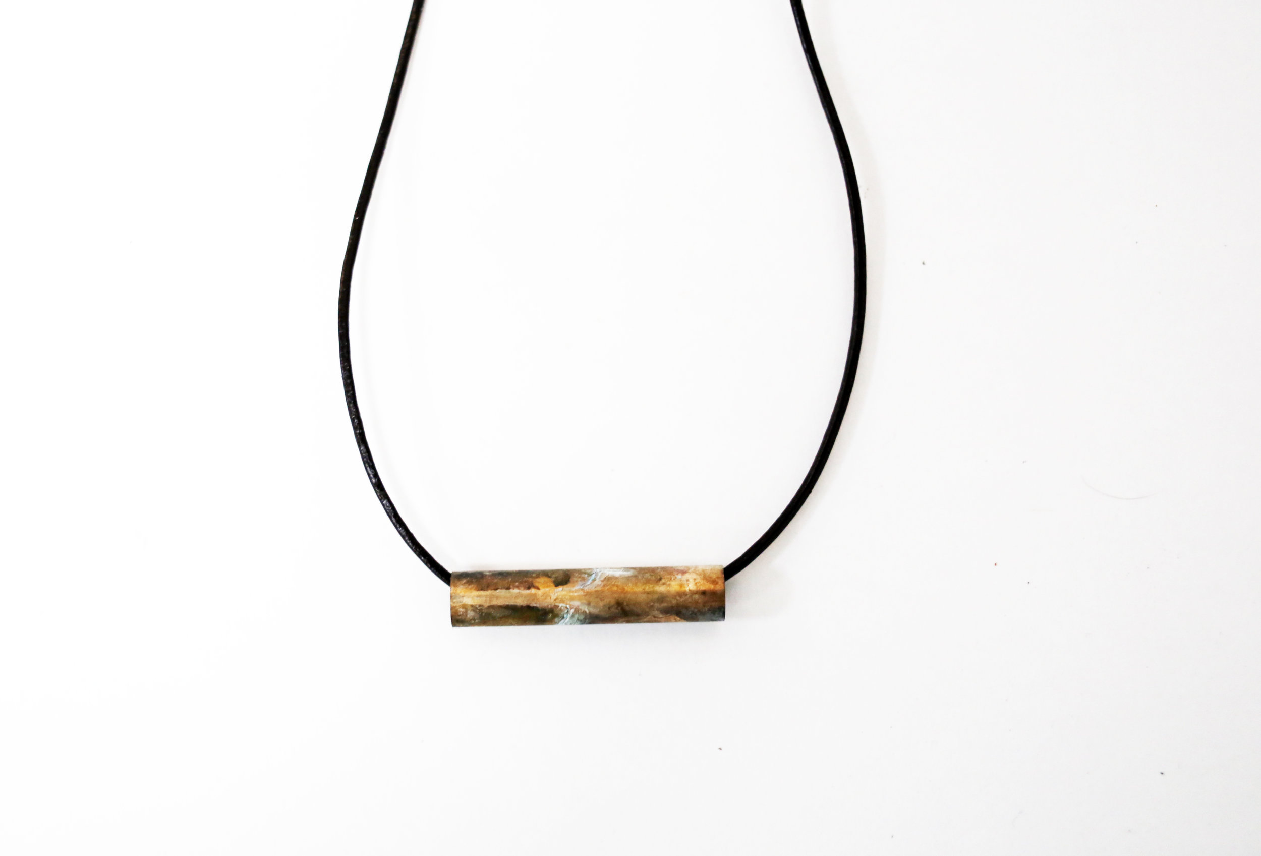 Brass, Seawater patina, Leather cord