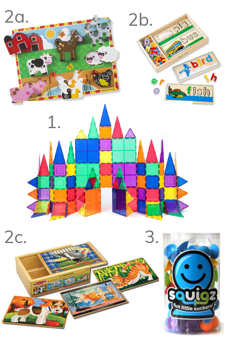 El's favorite self-entertaining toys for toddlers Ryan and Max, including PicassoTiles, Melissa & Doug puzzles, and Squigz.
