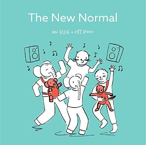 """""""The New Normal"""" is an Ellie + Ott board book in black, white, red, and blue for baby's third month, exploring the joys of babyhood and parenting."""