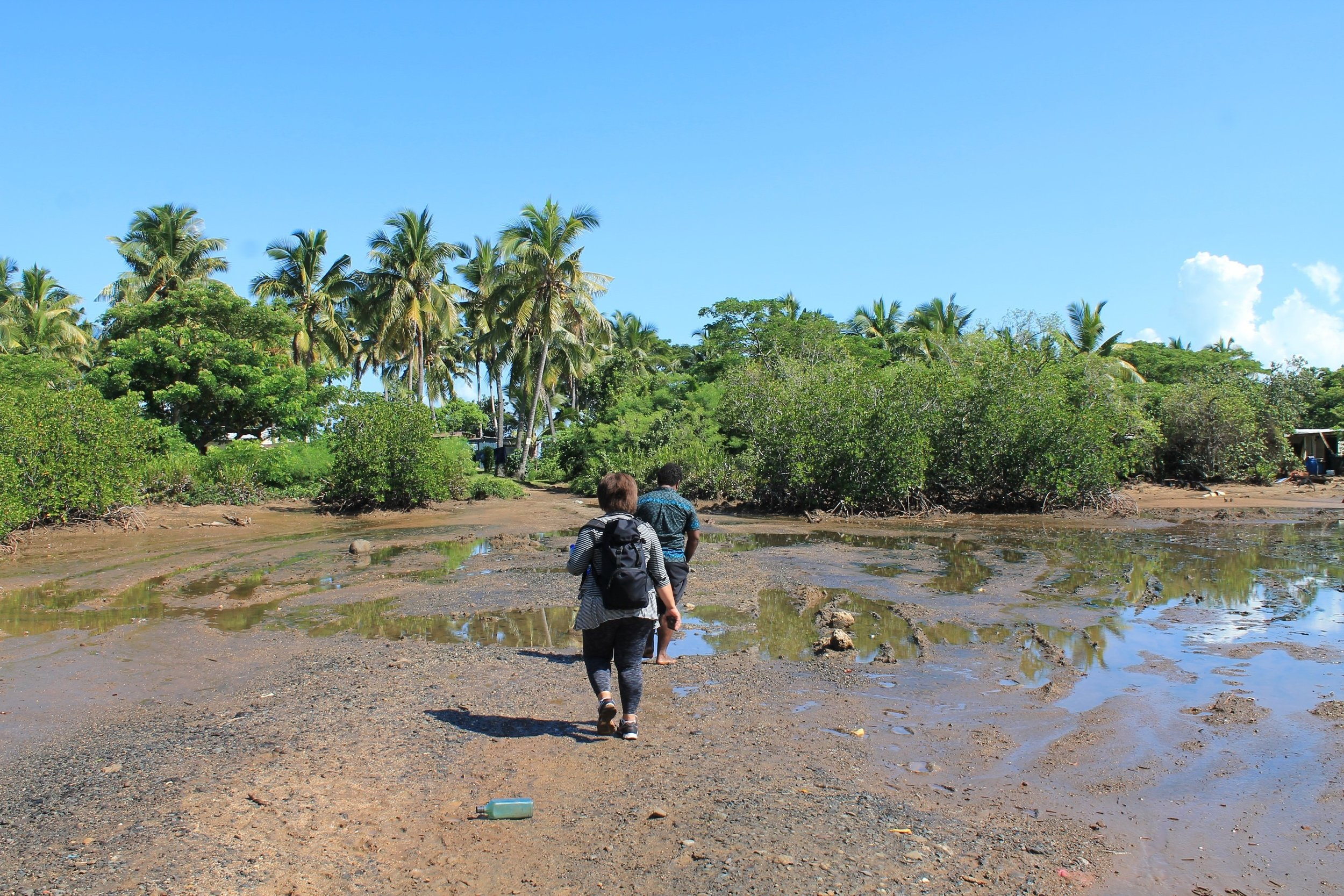 Near the end of the road leading to the community. Photo is taken of the flood-prone region of the road during low-tide. Photo By Yanik Rozon