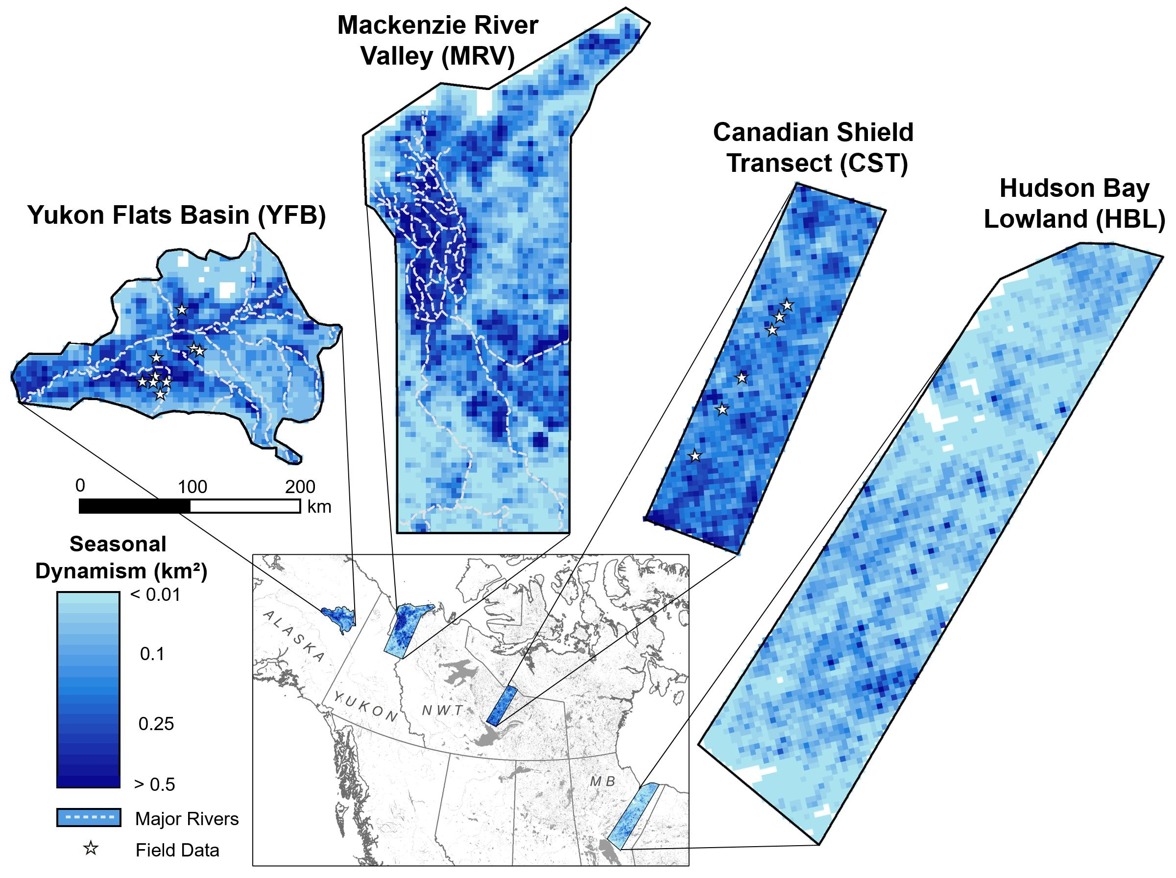 Gridded maps of lake dynamism (seasonal maximum minus seasonal minimum area, km2) for the four study areas analyzed in the 2019 GRL paper. White dashed lines show major river systems, and white stars indicate locations of in situ lake level measurements.