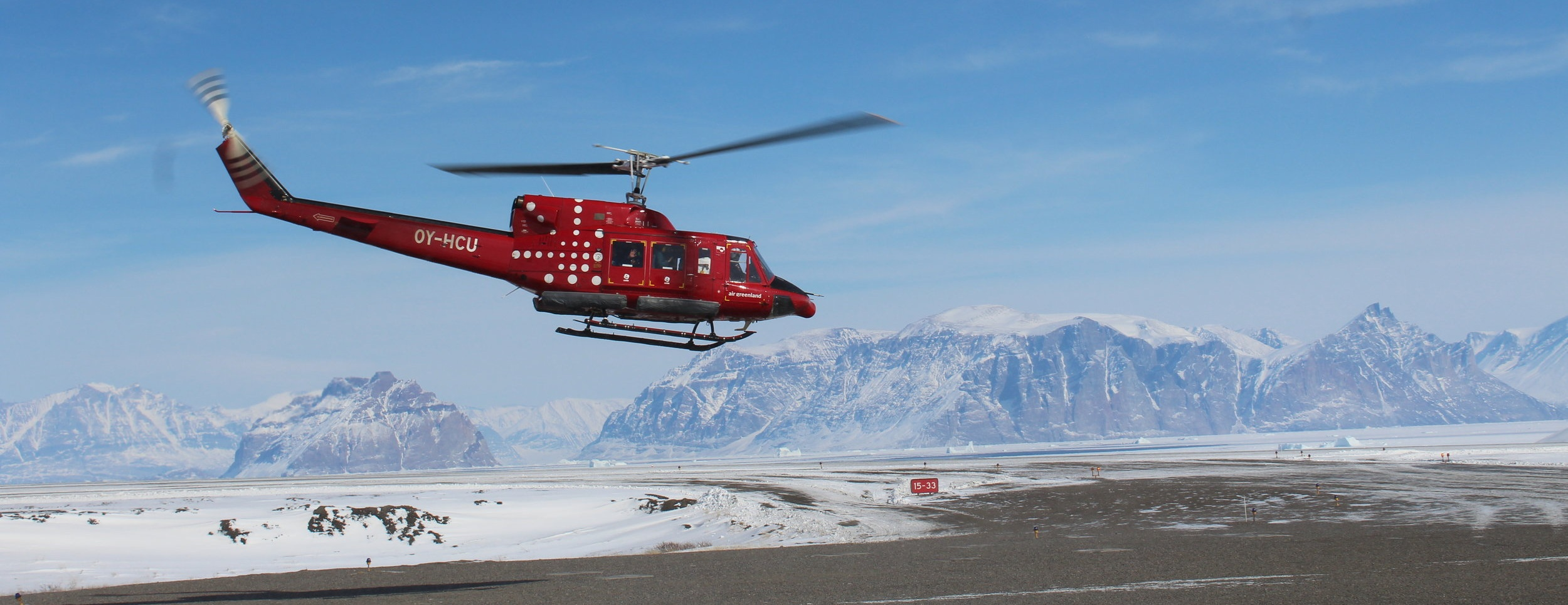 Helicopter flight to Uummannaq, April 2019