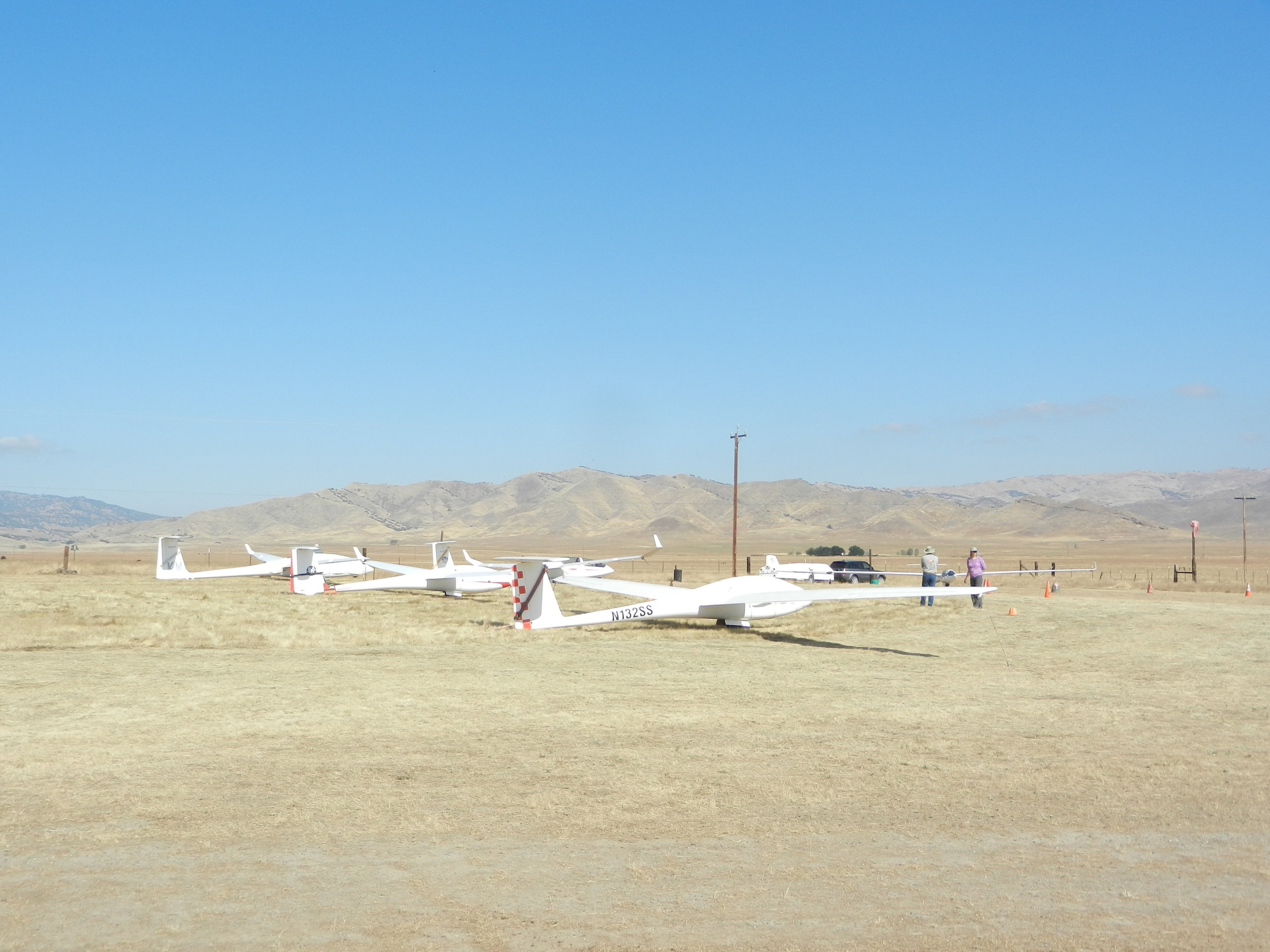 The flight line starts to form as glider arrive and are assembled
