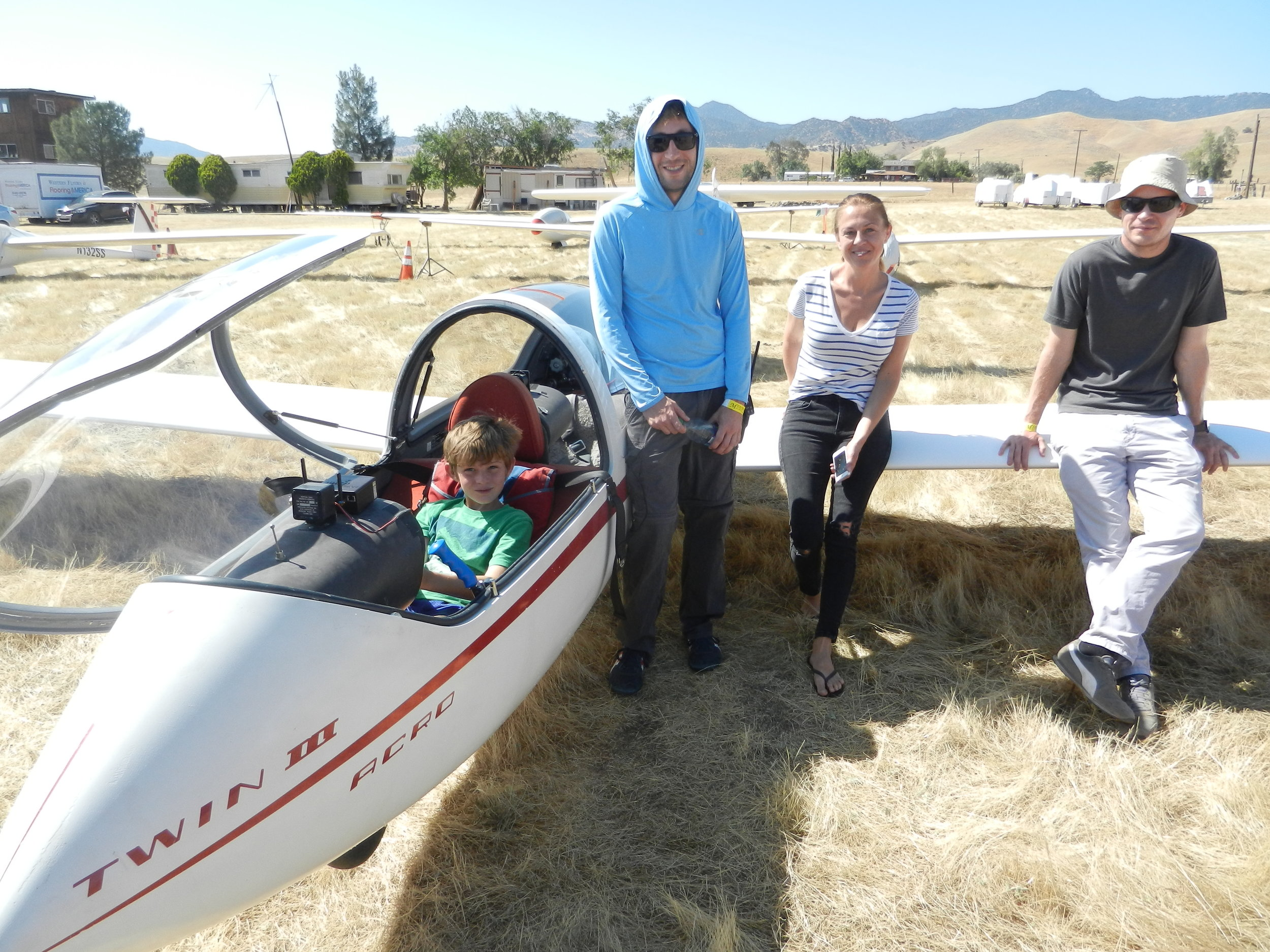 Young Patrick runs through his check-list prior to his first flight in a real glider...