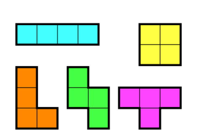 The 5 main tetrominoes in Tetris.
