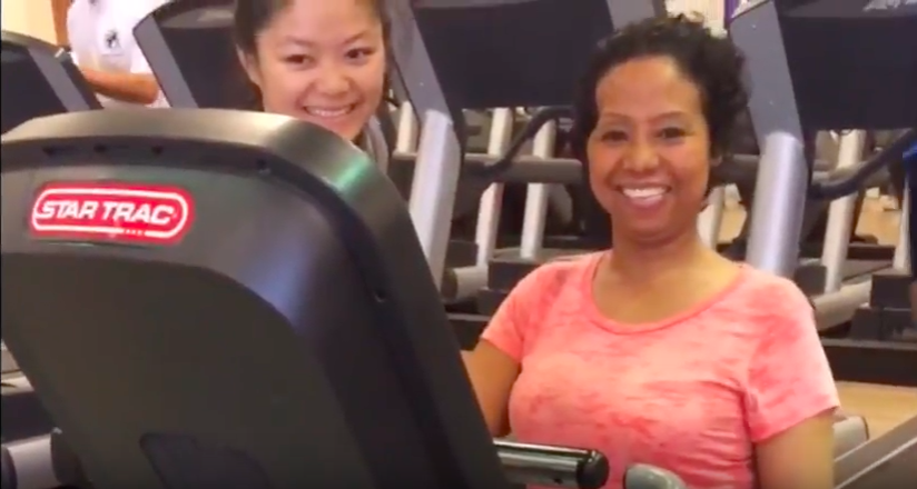 Her first time back on a bicycle at LA Fitness.