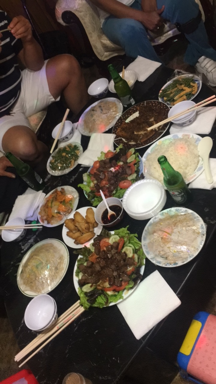 Typical Vietnamese party spread.