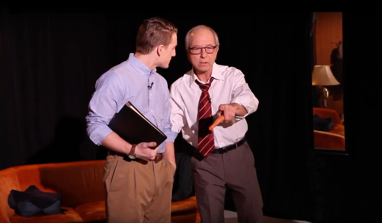 Actors Bob Weick (right) playing Nick Virgilio and Ned Pryce (left).
