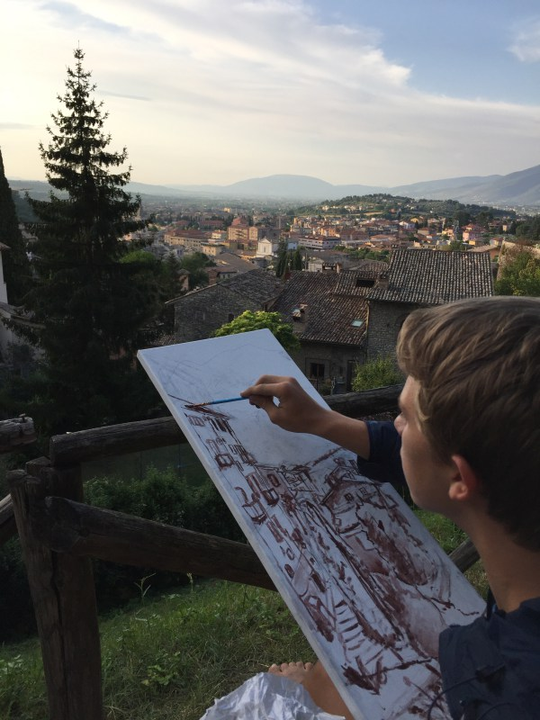 Lucas in action working on his sinopia, capturing an incredible view of Spoleto