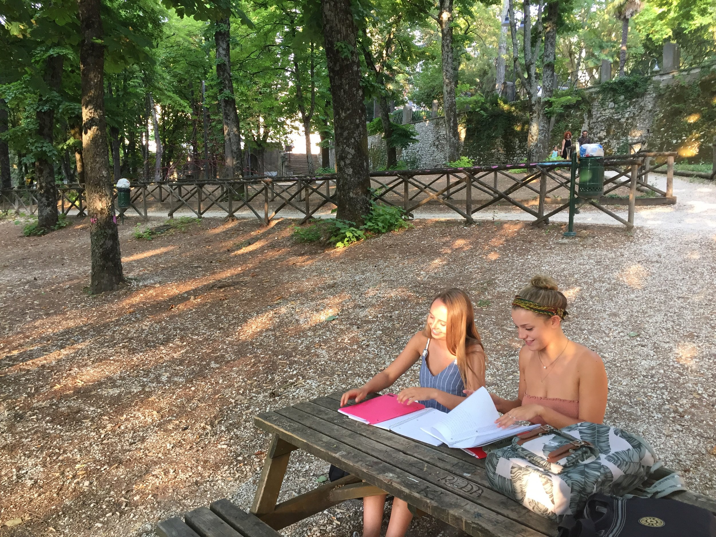 Creative Writing Students Working Outside