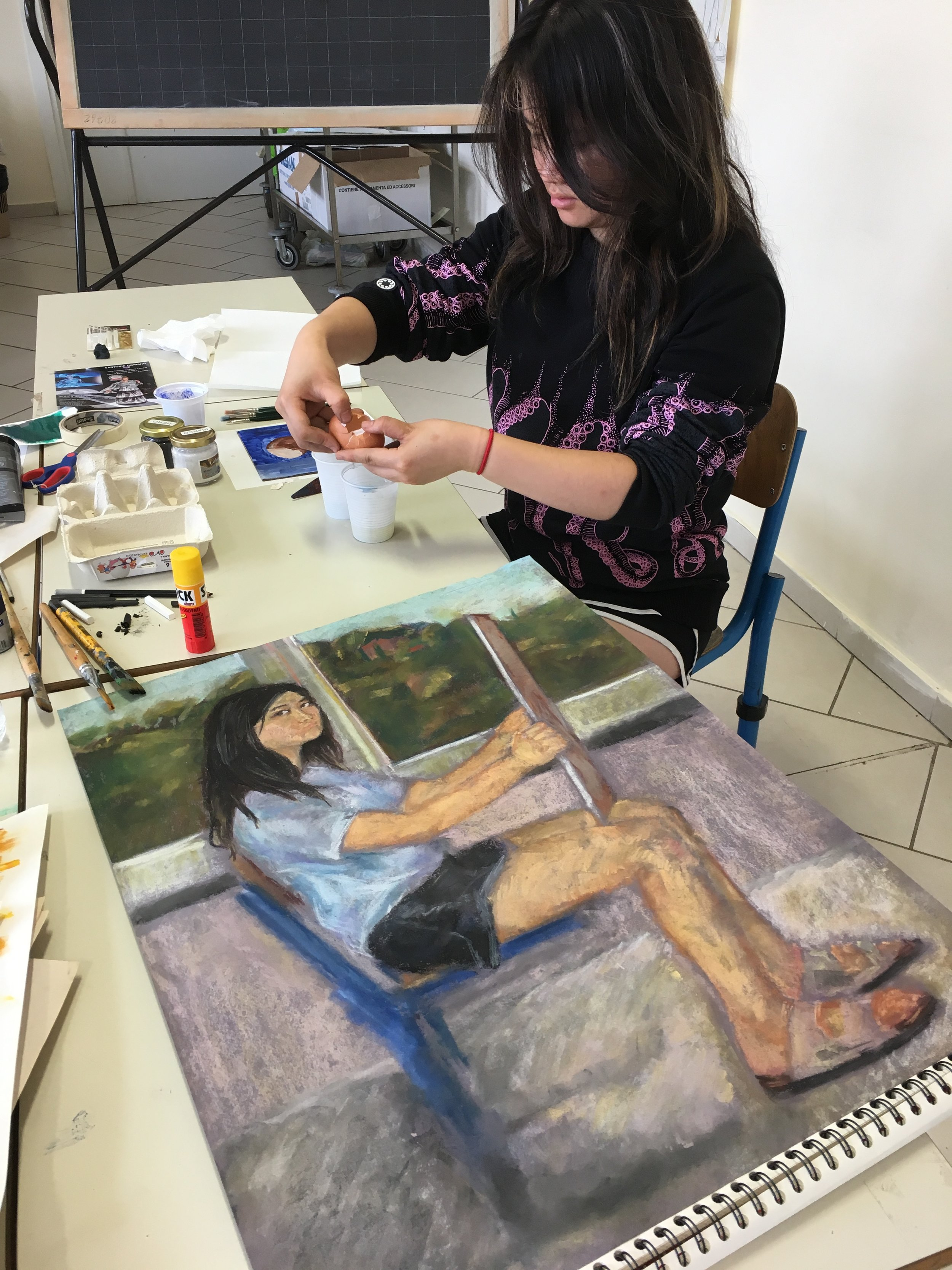 Naomi making her tempera painting! (self-portrait foreground)