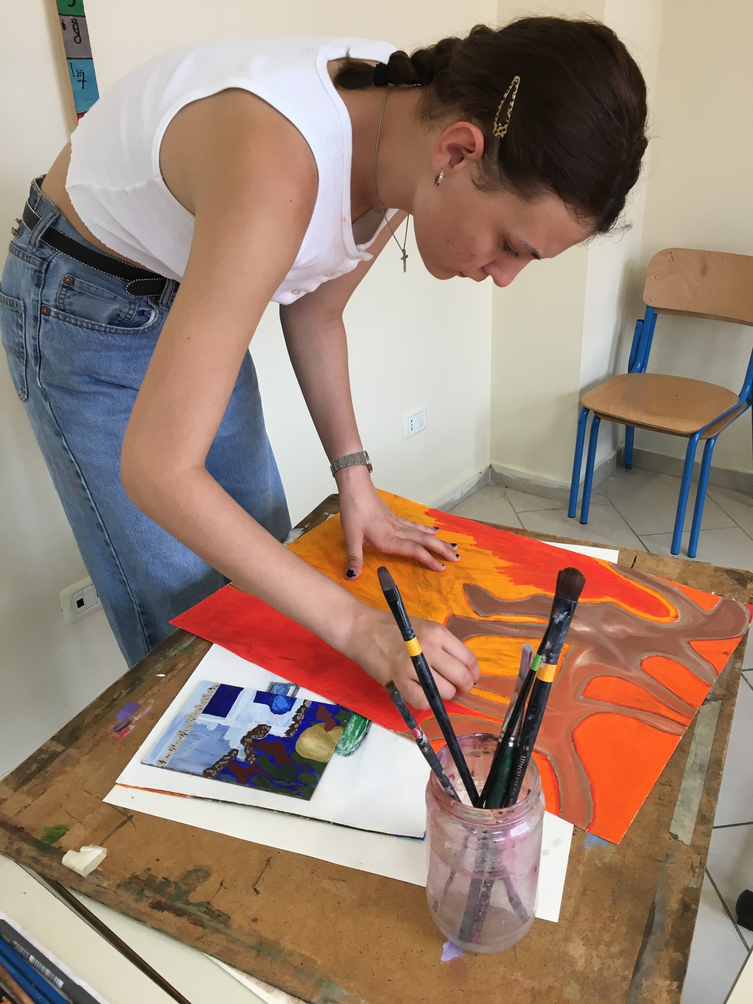 Elinka with her small egg tempera painting + starting a new idea working with oil bars