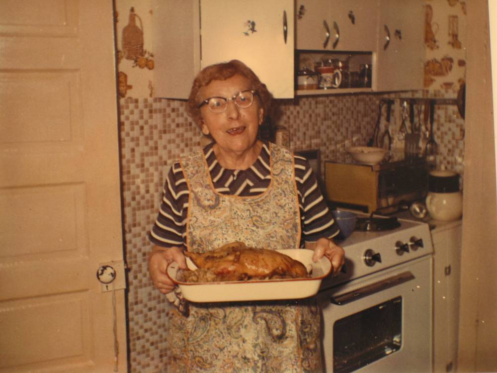 Rose, Wisconsin 1970s. Notice the lack of hot-pads with a dish straight from the oven.