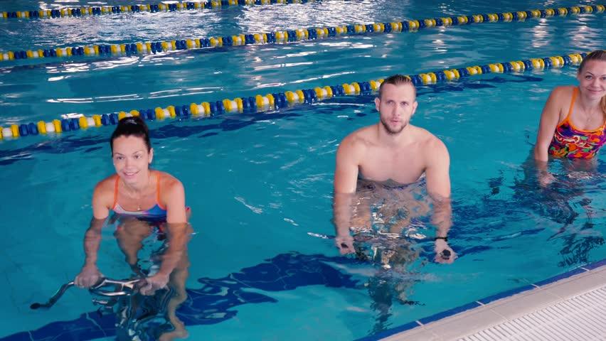 Swimmers biking