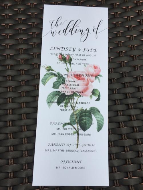 wedding ceremony programDouglaston Manor