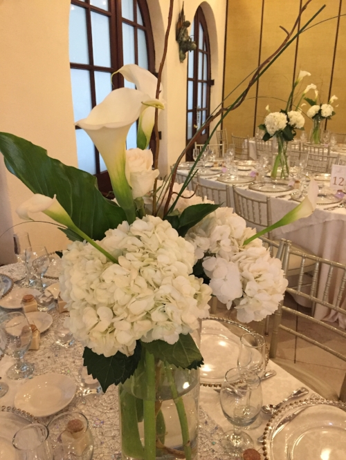 flowers centerpieces at Douglaston Manor wedding reception