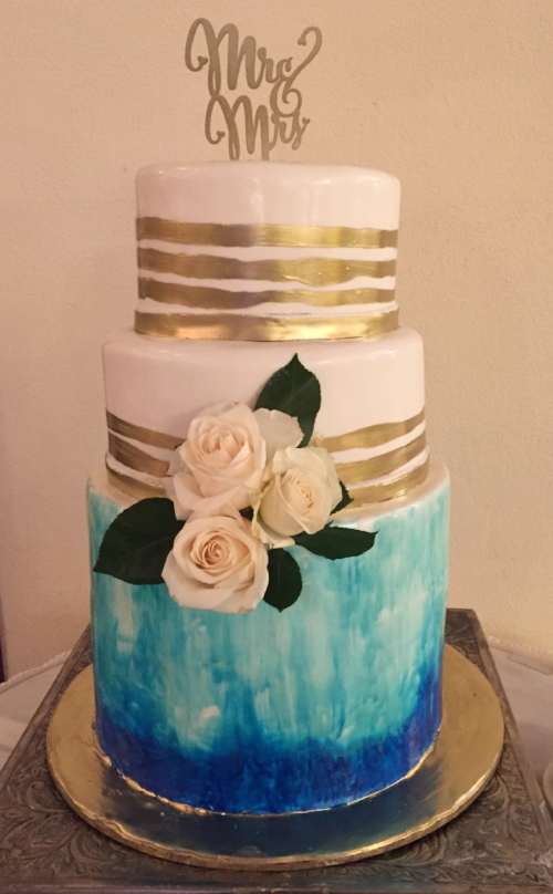 teal and white wedding cake Douglaston Manor