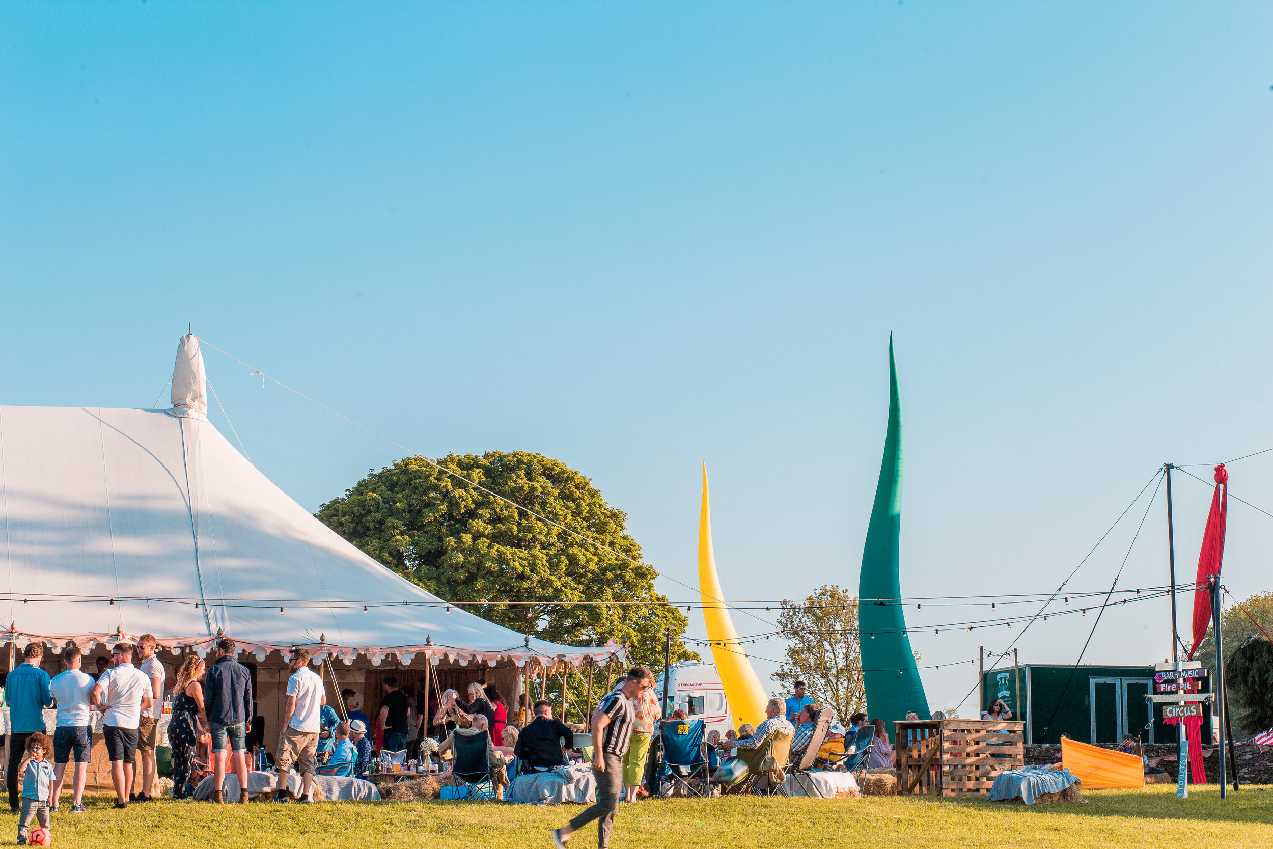 A marquee covered dance floor and the most impressive inflatable sculptures!