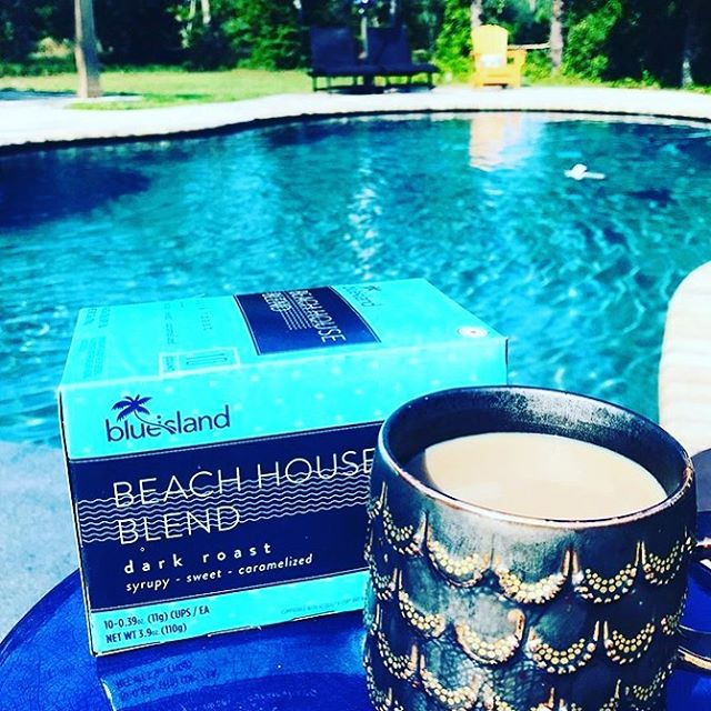 Soaking up summer! ☀️☕️ photo from @travelingfortanlines #BlueIslandCoffee