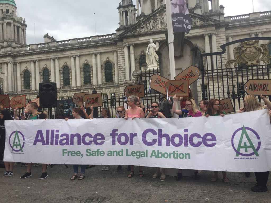 Alliance For Choice  campaign outside Belfast City Hall