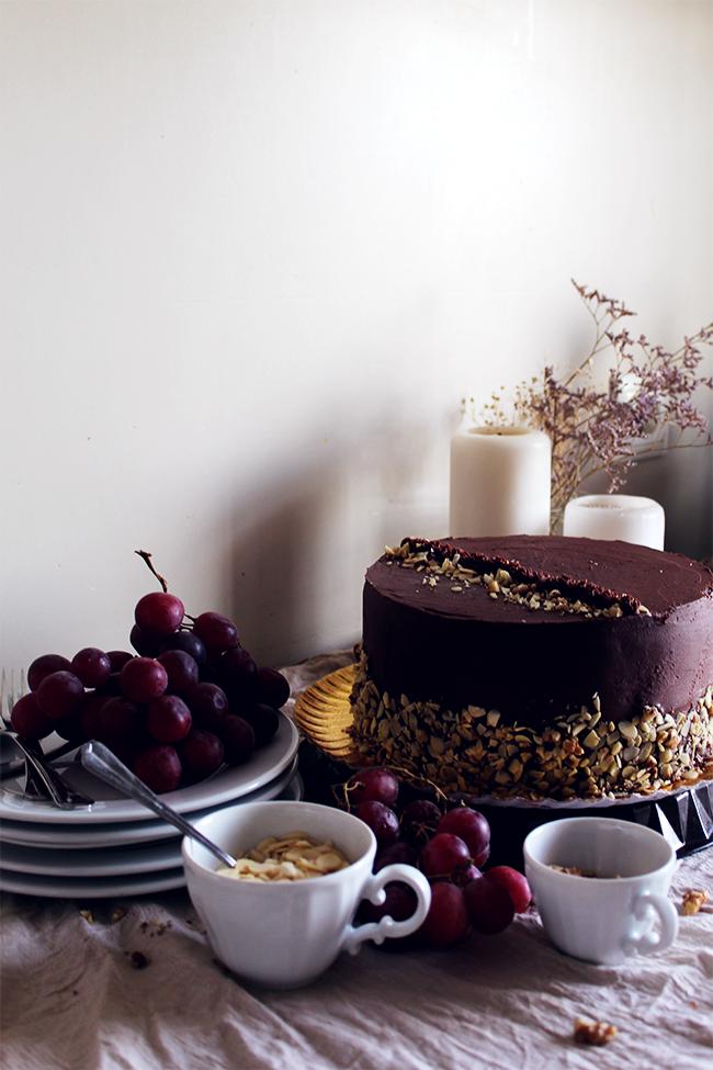 ricotta, chocolate frosting