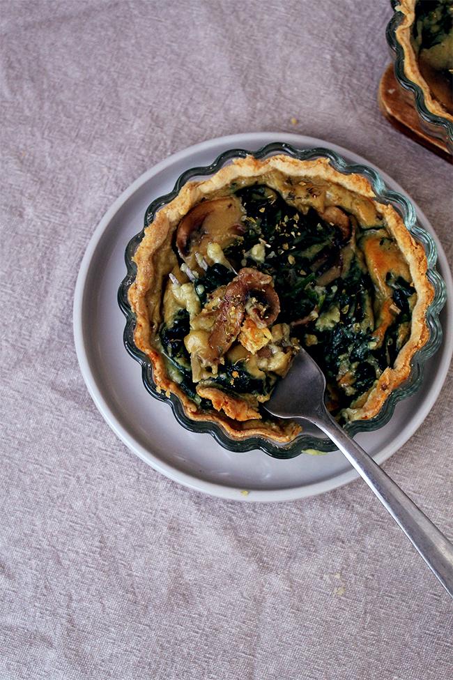 mushroom, spinach quiches