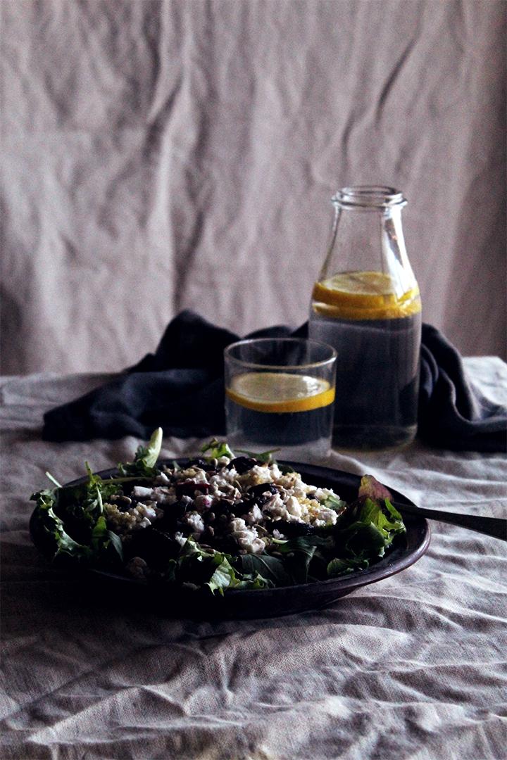 roasted beetroot, feta and quinoa salad