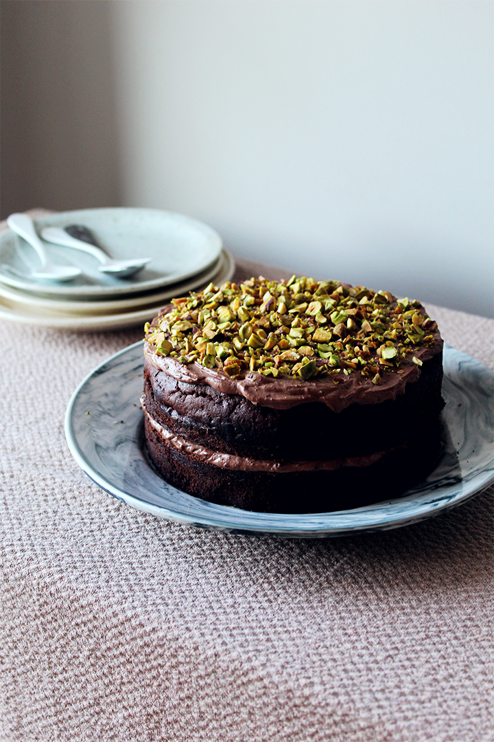 Chocolate and pistachio cake with greek yogurt ganache