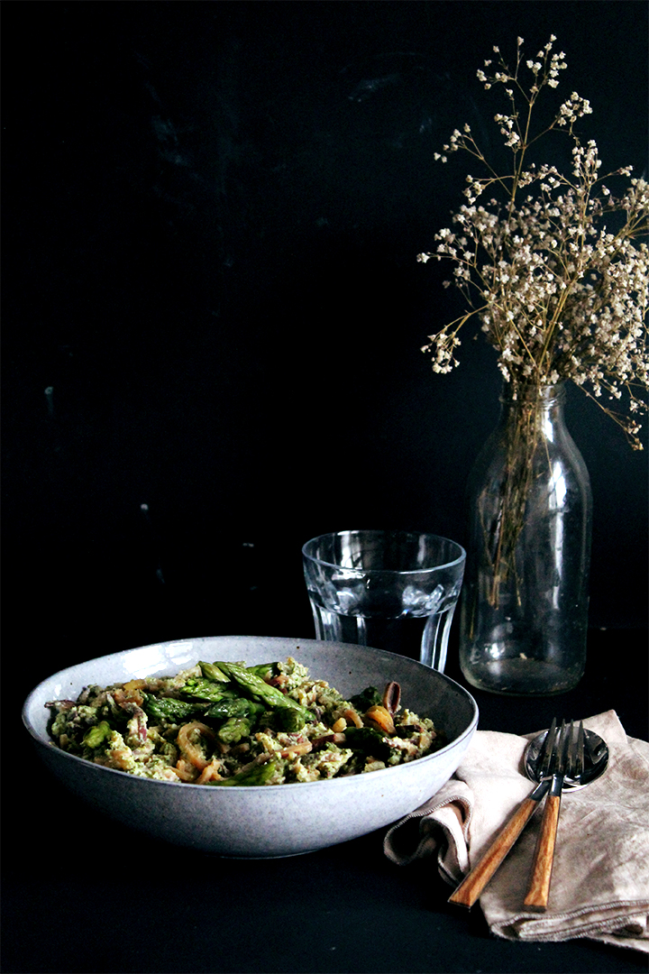 sweet potato noodles with broccoli and asparagus sauce