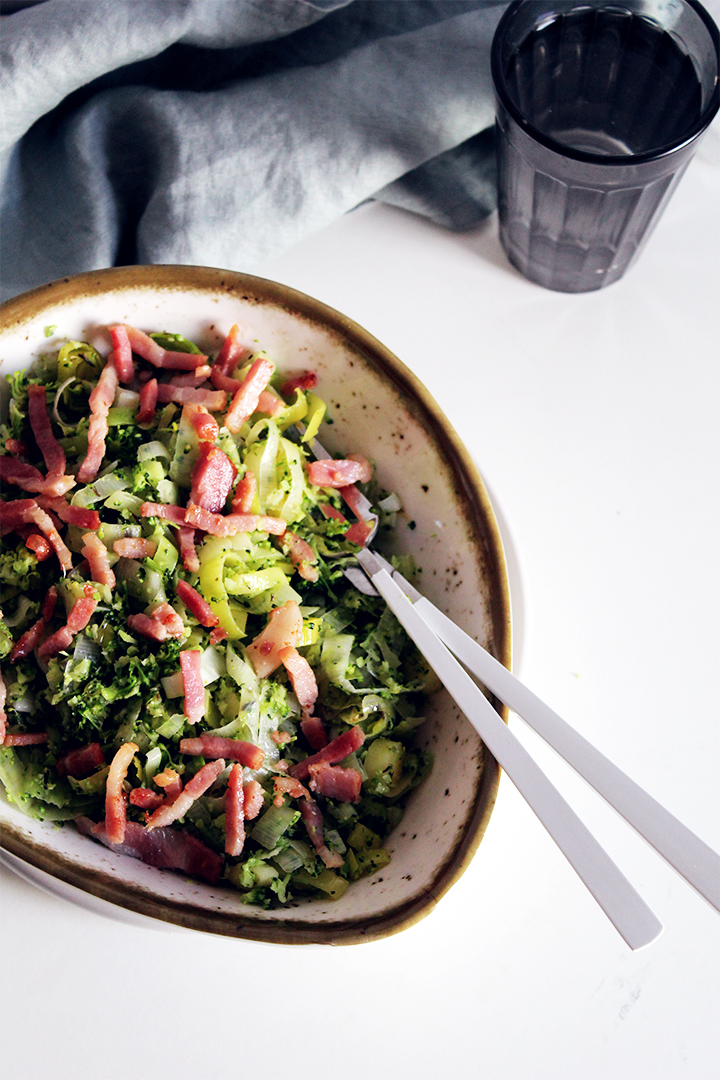 super fast broccoli, bacon salad