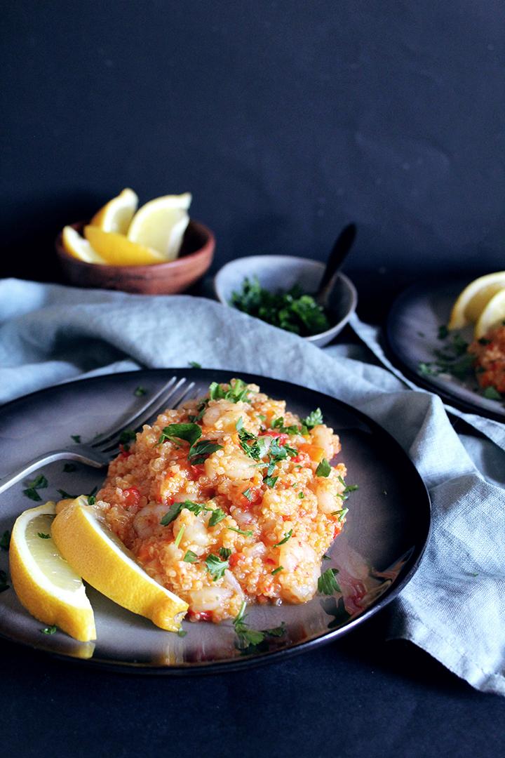 One pot quinoa shrimp