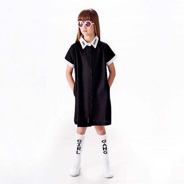 Our GIRL GANG summer dress and socks 🖤 #girlgangeverything #girlgang  Model: Willow Sunglasses: Sons + Daughters