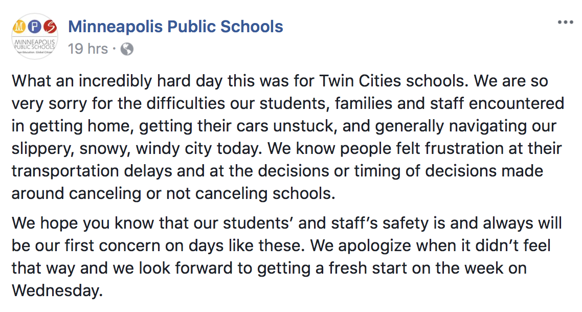 A Facebook post from MPS on Monday evening reflects the struggle created by the day's snowfall.