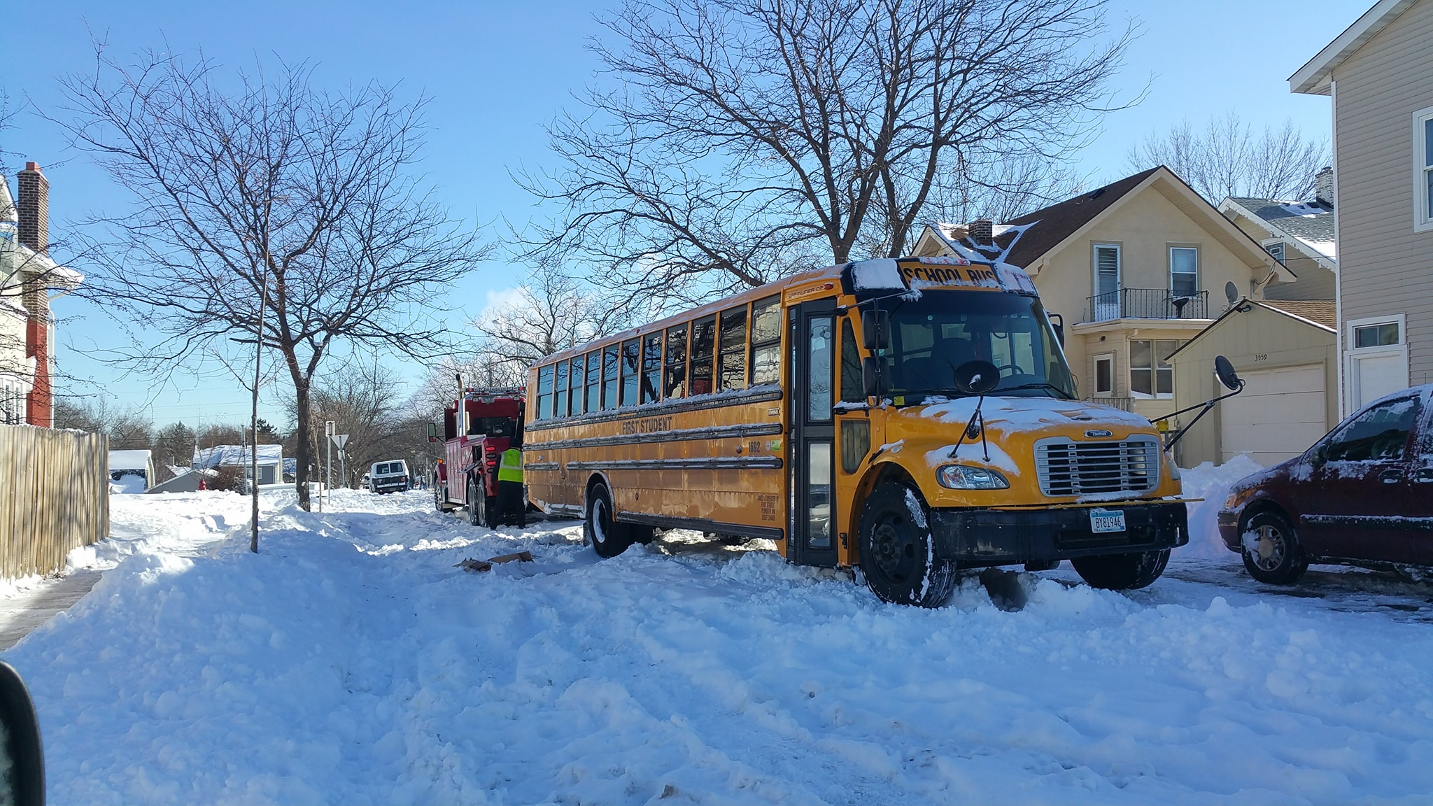 A school bus was reportedly stuck in the snow overnight on 36th and Fremont Ave. N.  Photo by Phillip Murphy