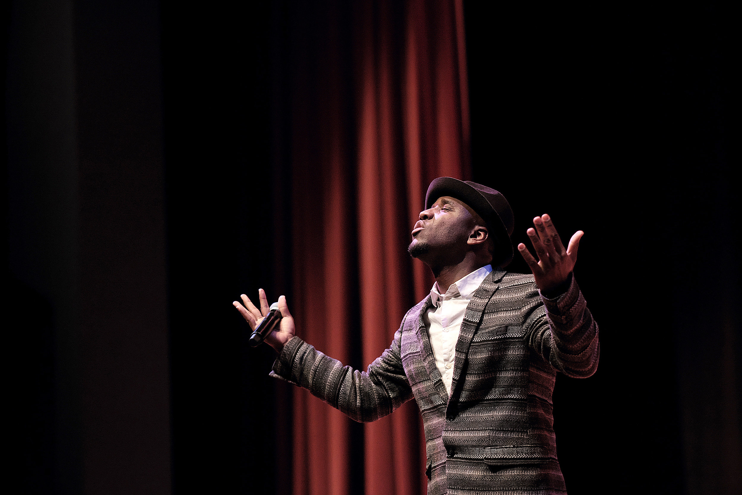 Niles performs at a Dr. Martin Luther King Jr. tribute event that he produced at the University of Minnesota on January 18.
