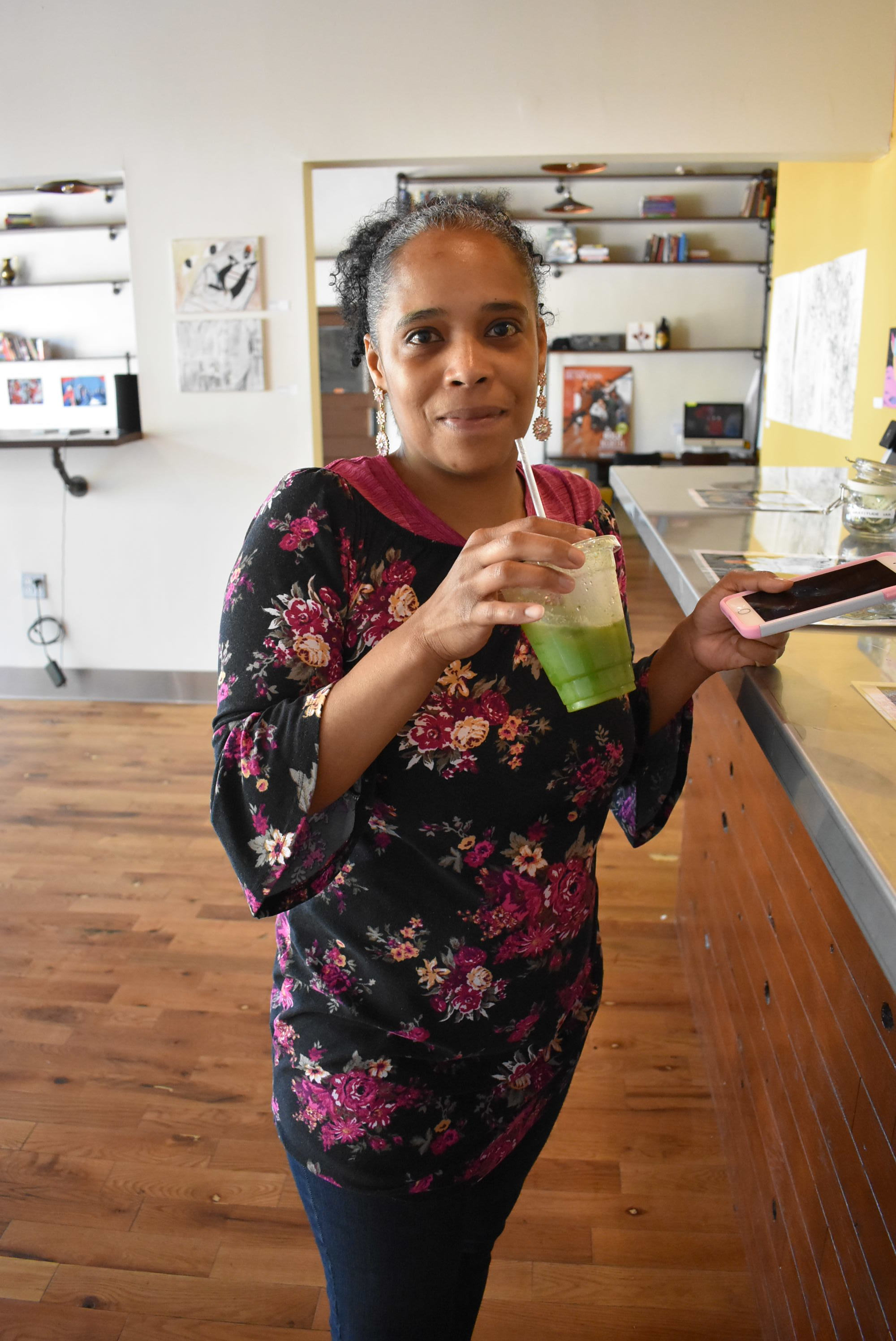 Northsider Angel Peterson visited Got the Juice on May 15. The space is grab-and-go, but there is also limited seating for those who want to hang around. According to the owner, Sierra Carter, they hope to offer more seating space for Got The Juice customers in the future.  Photo by Cirien Saadeh
